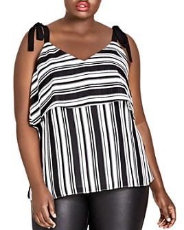 City Chic Plus - Stripe it Lucky Tie-Strap Top