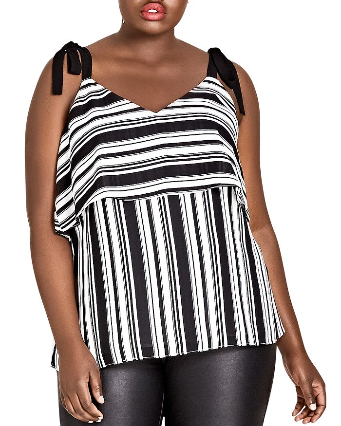 City Chic Plus - Stripe it Lucky Tie-Strap Top