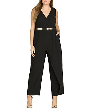 City Chic Plus Flicker Belted Overlay Jumpsuit