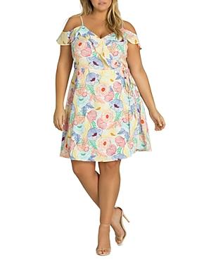 City Chic Plus Etched Floral Cold-Shoulder Wrap Dress