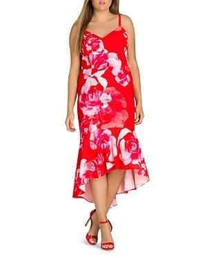 City Chic Plus Tango Floral High/Low Midi Dress
