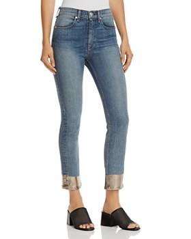 rag & bone/JEAN - Metallic-Hem Ankle Cigarette Jeans in Bilbury