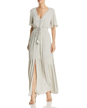 Lost and Wander - Athena Embroidered Tie-Detail Maxi Dress