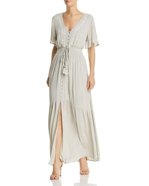 LOST AND WANDER LOST + WANDER ATHENA EMBROIDERED TIE-DETAIL MAXI DRESS