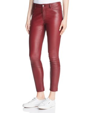 Theory Leather Skinny Jeans in Deep Mulberry 3021582