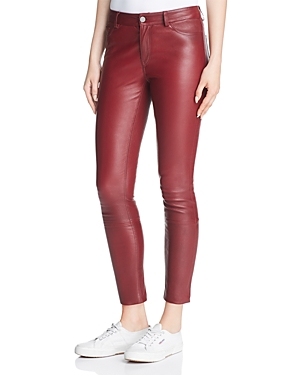 Theory Leather Skinny Jeans in Deep Mulberry thumbnail