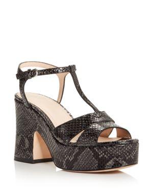 POUR LA VICTOIRE Women'S Nolla Open Toe Metallic Snake-Embossed Leather Platform Sandals in Nickel