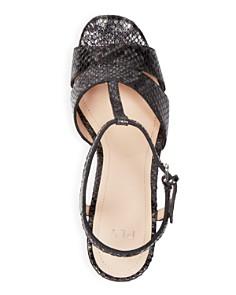 Pour La Victoire - Women's Nolla Open Toe Metallic Snake-Embossed Leather Platform Sandals