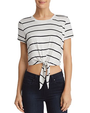 AQUA - Tie-Front Cropped Striped Tee - 100% Exclusive