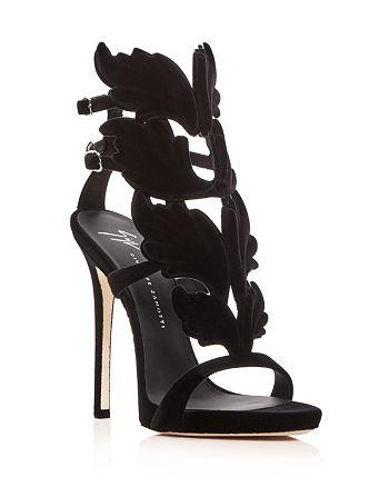 Giuseppe Zanotti - Women's Winged Flocked Velvet High-Heel Sandals