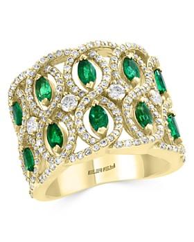 Bloomingdale's - Emerald & Diamond Interlocked Ring in 14K Yellow Gold - 100% Exclusive