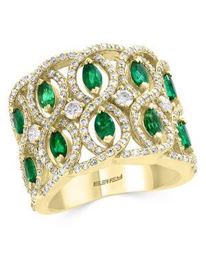Bloomingdale's Emerald & Diamond Interlocked Ring in 14K Yellow Gold - 100% Exclusive