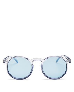 LE SPECS Women'S Teen Spirit Deux Mirrored Round Sunglasses, 50Mm in Chambray/Blue Tint Mirror