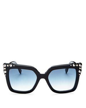 Women'S Embellished Square Sunglasses, 52Mm, Black