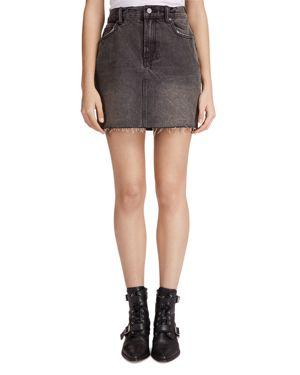 Betty Raw-Edge Denim Skirt, Washed Black