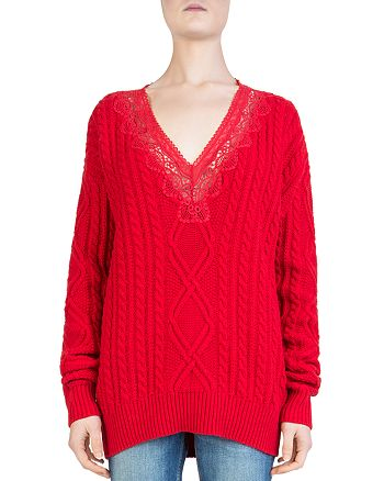 The Kooples - Lace-Inset Cable-Knit Sweater f7f50ba35