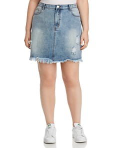 GLAMOROUS CURVY - Distressed Acid-Washed Denim Skirt