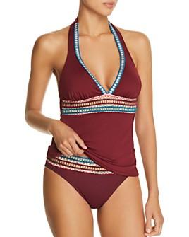 La Blanca - Running Stitch Halter Tankini Top & Running Stitch Hipster Bikini Bottom