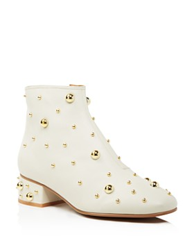 See by Chloé - Women's Studded Leather Block Heel Booties