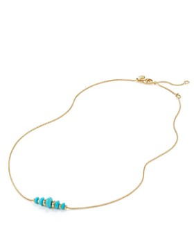 David Yurman - Rio Rondelle Short Station Necklace with Turquoise in 18K Gold
