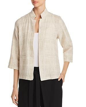 Eileen Fisher Plaid Gauze Open-Front Jacket