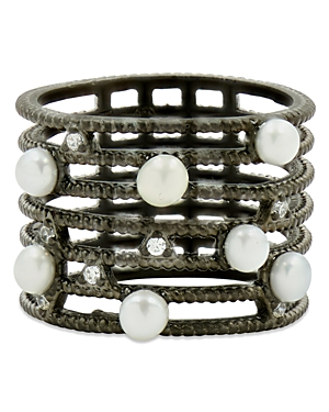 Freida Rothman Cultured Freshwater Pearl Textured Cage Ring-Jewelry & Accessories