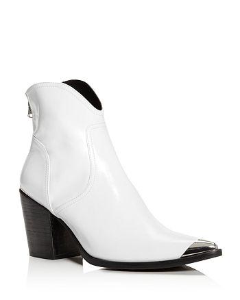 AQUA - Women's Pose Pointed Toe Leather Mid-Heel Booties - 100% Exclusive
