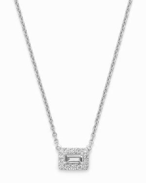 Bloomingdale's Emerald-Cut & Round Diamond Pendant Necklace in 14K White Gold, 0.50 ct. t.w. - 100%