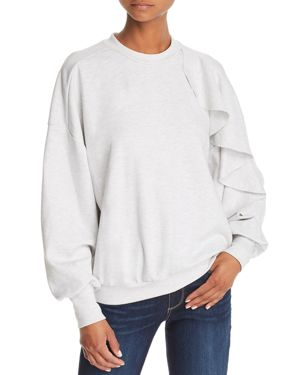 THE FIFTH LABEL ULTRAVIOLET RUFFLED SWEATSHIRT