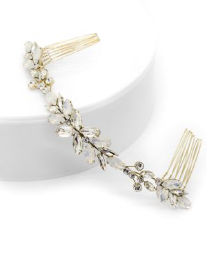 BRIDES AND HAIRPINS Brides And Hairpins Monroe Crystal Halo Comb in Gold
