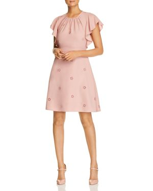 Eyelet Detail Ruffle Sleeve Crepe Dress, Faded Peony