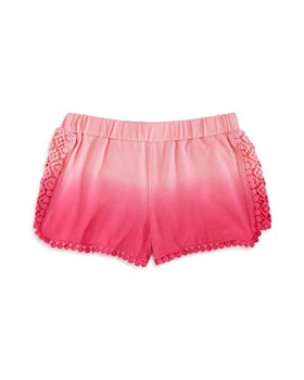 Design History - Girls' Dip-Dyed Crochet-Trim Shorts - Little Kid