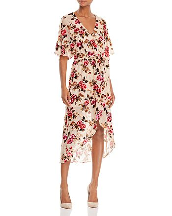 Alice and Olivia - Clarine Velvet Burnout Wrap Dress