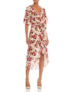 Alice + Olivia Clarine Velvet Burnout Wrap Dress