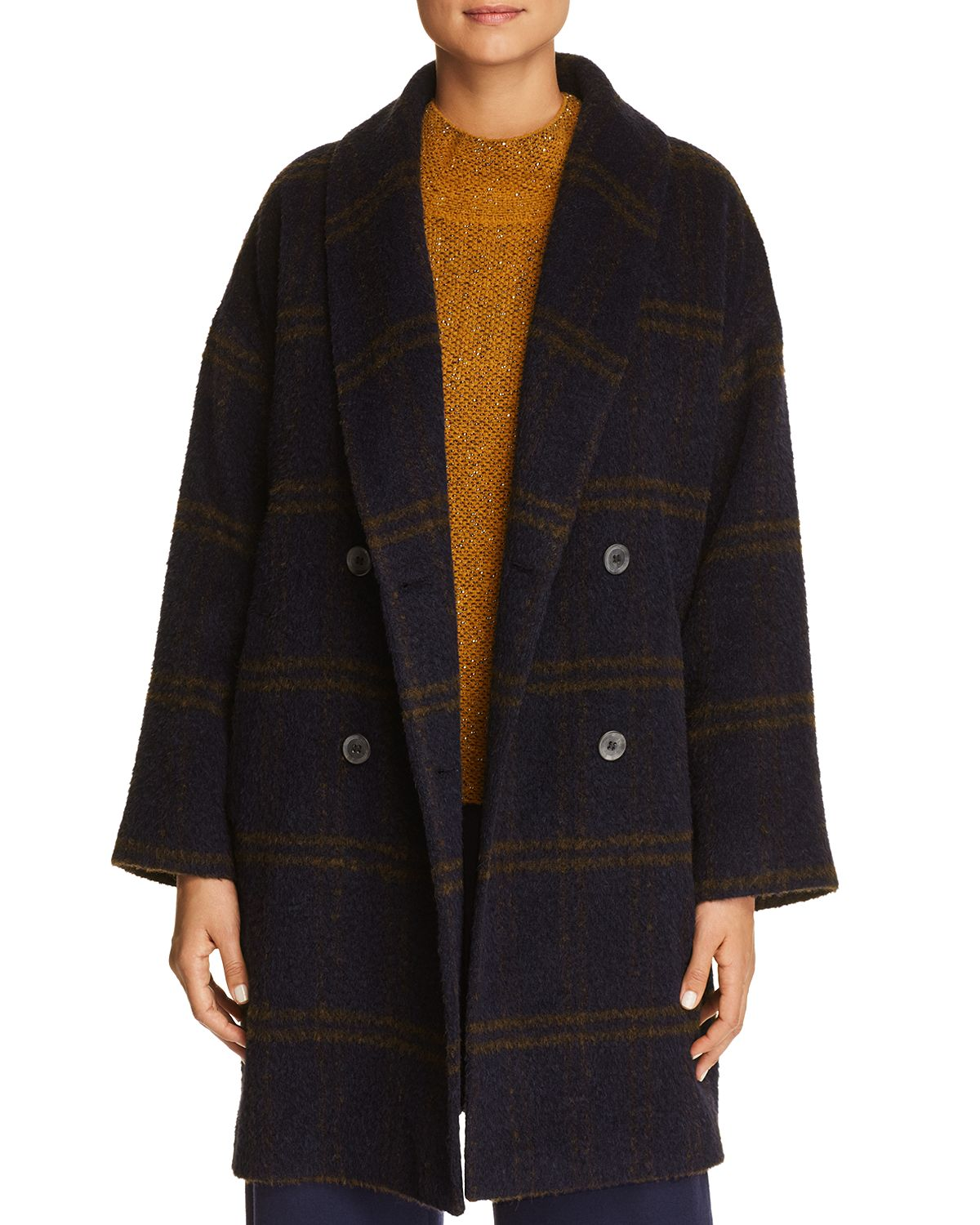 10f892e372c62 NEW EILEEN FISHER MIDNIGHT LUXE ALPACA WINDOWPANE DBL BREASTED COAT ...