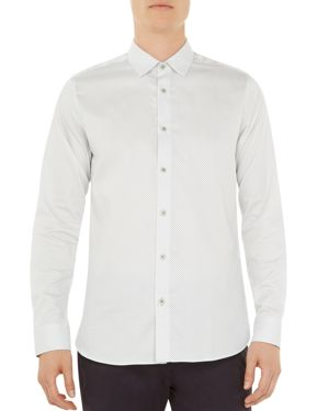 TED BAKER Boomtwn Micro Geo Regular Fit Button-Down Shirt in White