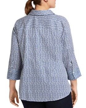 Foxcroft Plus - Mary Dotted Button-Down Top
