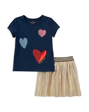 kate spade new york Girls Foil Heart Tee  Metallic Skirt Set  Baby
