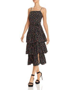 OLIVACEOUS FLORAL TIERED-HEM DRESS