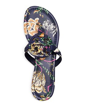 Tory Burch - Women's Miller Floral Leather Thong Sandals