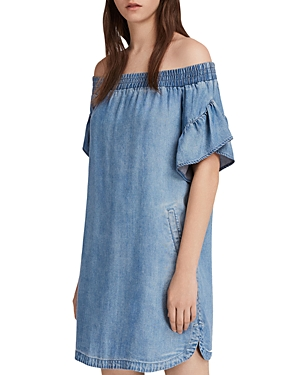 Allsaints Adela Off-the-Shoulder Chambray Dress