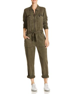 Chambray Utility Jumpsuit, Washed Army Green