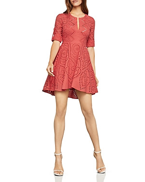 Bcbgmaxazria Eyelet Fit-and-Flare Dress