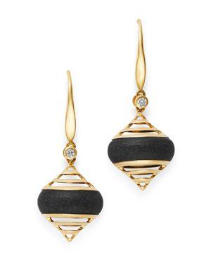 OLIVIA B 14K YELLOW GOLD BEZEL-SET DIAMOND & MATTE BLACK ONYX DROP EARRINGS - 100% EXCLUSIVE
