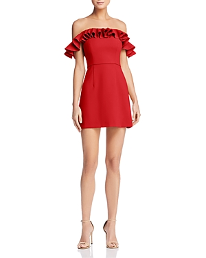 French Connection Whisper Light Ruffled Off-the-Shoulder Dress