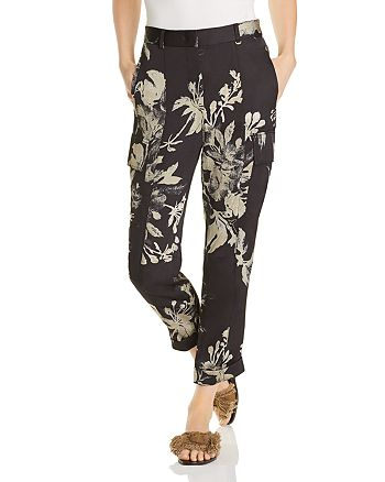 Donna Karan - Floral Cropped Cargo Pants