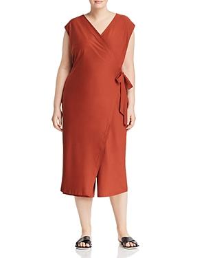 New Eileen Fisher Plus Wrap-Front Jumpsuit, Dark Pekoe