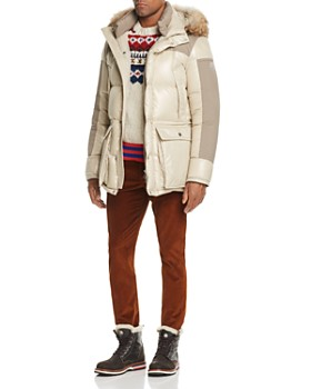 Moncler - Frey Fur-Trimmed Parka, Maglia Sweater & Regular Fit Pants ...