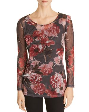 LOVE SCARLETT SHIRRED FLORAL MESH TOP