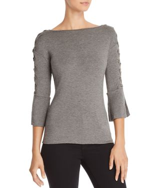 Alma Mater Laced Trumpet Sleeve Top, Marengo
